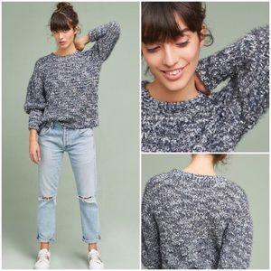 Moth Halen Balloon Sleeve Fuzzy Pullover Sweater